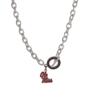 "Silver tone officially licensed Ole Miss toggle necklace with the logo charm. Approximately 18"" in length."