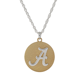 "Officially licensed, two tone necklace with the University of Alabama logo pendant. Approximately 18"" in length."