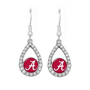 "Officially licensed 2"" silver tone earrings featuring an oval shape Alabama logo with clear crystal rhinestones."
