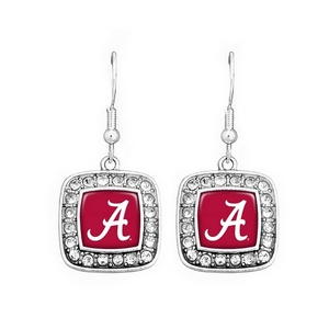 Silver tone officially licensed University of Alabama square shape crystal trim script A on fish hook.