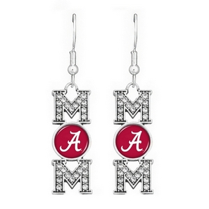 "Officially licensed 2"" Silver tone fish hook earrings featuring ""MOM"" written with an Alabama logo accented with crystal clear rhinestones."