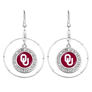 "Officially licensed 2"" silver tone Oklahoma hoop earrings featuring clear crystal rhinestones."