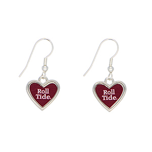 "Officially licensed 1"" silver tone Alabama earrings featuring a heart shape inscribed with ""Roll Tide."""