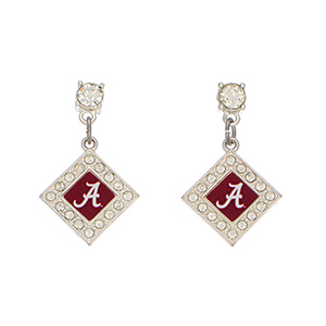 "Officially licensed 1 1/2"" silver tone earrings featuring a diamond shaped Alabama logo with clear crystal rhinestones."