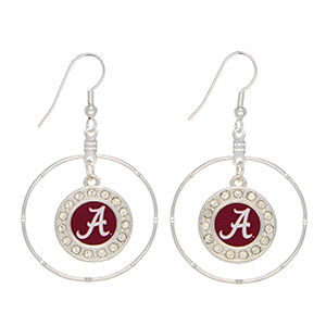 "Officially licensed 2"" silver tone hoop earrings featuring an Alabama logo with clear crystal rhinestones."
