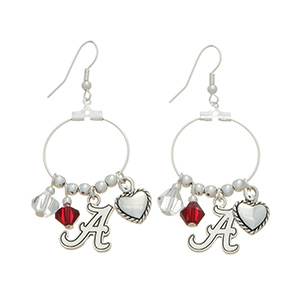 "Silver tone officially licensed fishhook earrings featuring Alabama charm. Approximately 1"" in length."