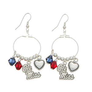 "Silver tone officially licensed fishhook earrings featuring Ole Miss charm. Approximately 1"" in length."
