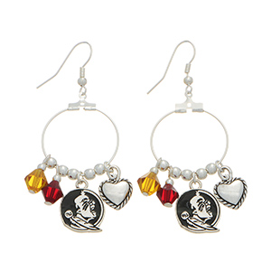 """Silver tone officially licensed fishhook earrings featuring Florida State University Seminoles charm. Approximately 1"""" in length."""