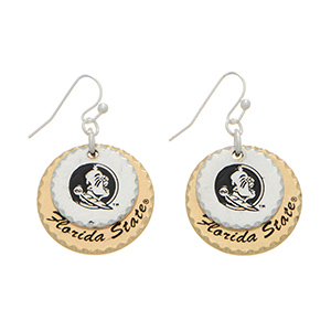 """Silver tone officially licensed collegiate fishhook earrings featuring two mixed metal disk stamped """"Florida State"""". Charm approximately 1"""" in length. Overall length 1 9/16""""."""