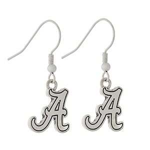 "Silver tone official licensed University of Alabama earrings. Charm approximately 1/2"" in length. Overall length 1 1/4""."