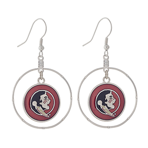 """Silver tone fishhook earrings displaying a ring with a dangling officially licensed garnet Florida State Seminoles charm. Approximately 1 1/2"""" in length."""