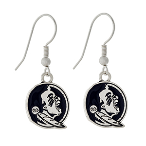 """Silver tone official licensed Florida State Seminoles earrings. Approximately 1/2"""" in length."""