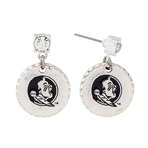 """Silver tone post style earrings with a rhinestone and a dangling officially licensed Florida State Seminoles disk. Approximately 1 1/8"""" in length."""
