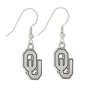 "Silver tone official licensed University of Oklahoma earrings. Approximately 1/2"" in length."
