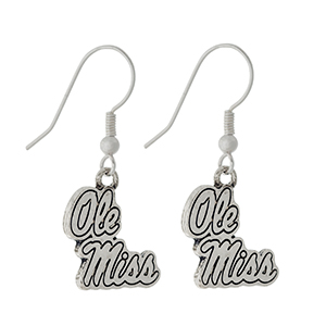 "Silver tone official licensed Ole Miss earrings. Approximately 1/2"" in length."