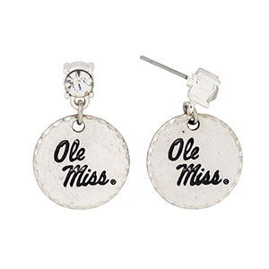 "Silver tone post style earrings with a rhinestone and a dangling officially licensed Ole Miss disk. Approximately 1 1/8"" in length."