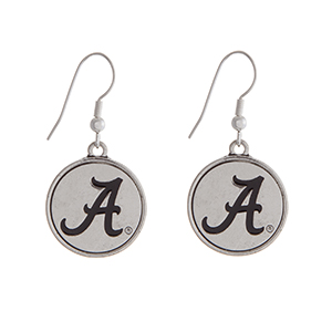 "Officially licensed University of Alabama silver tone fishhook earrings with a circle logo. Approximately 2"" in length."