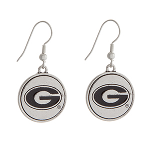 "Officially licensed University of Georgia silver tone fishhook earrings with a circle logo. Approximately 2"" in length."