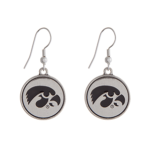 """Officially licensed University of Iowa silver tone fishhook earrings with a circle logo. Approximately 2"""" in length."""