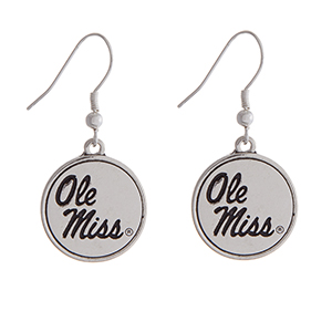 "Officially licensed Ole Miss silver tone fishhook earrings with a circle logo. Approximately 2"" in length."