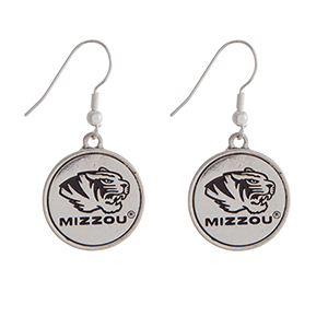 "Officially licensed University of Missouri silver tone fishhook earrings with a circle logo. Approximately 2"" in length."