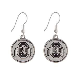 """Officially licensed Ohio State University silver tone fishhook earrings with a circle logo. Approximately 2"""" in length."""