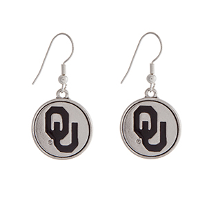 "Officially licensed University of Oklahoma silver tone fishhook earrings with a circle logo. Approximately 2"" in length."