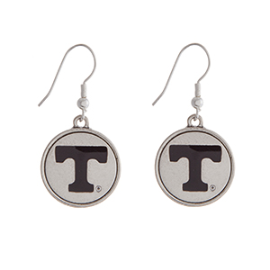 "Officially licensed University of Tennessee silver tone fishhook earrings with a circle logo. Approximately 2"" in length."