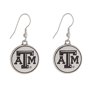 "Officially licensed Texas A&M University silver tone fishhook earrings with a circle logo. Approximately 2"" in length."