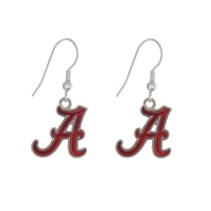 "Silver tone officially licensed University of Alabama earrings displaying the logo. Approximately 1"" in length."