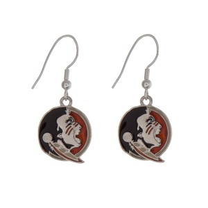 """Silver tone officially licensed Florida State University earrings displaying the logo. Approximately 1"""" in length."""