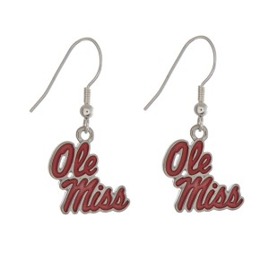 "Silver tone officially licensed Ole Miss earrings displaying the logo. Approximately 1"" in length."