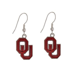 "Silver tone officially licensed University of Oklahoma earrings displaying the logo. Approximately 1"" in length."