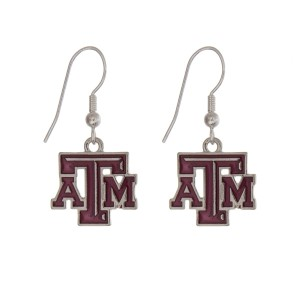 "Silver tone officially licensed Texas A & M University earrings displaying the logo. Approximately 1"" in length."
