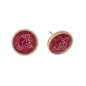 "Gold tone officially licensed University of Alabama stud earrings. Approximately 2/3"" in length. Our exclusive design."