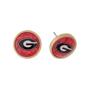 "Gold tone officially licensed University of Georgia stud earrings. Approximately 2/3"" in length. Our exclusive design."