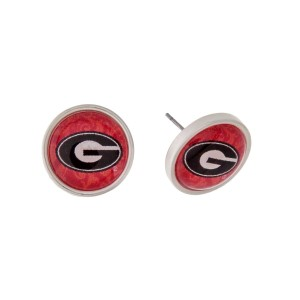 "Silver tone officially licensed University of Georgia stud earrings. Approximately 2/3"" in length. Our exclusive design."
