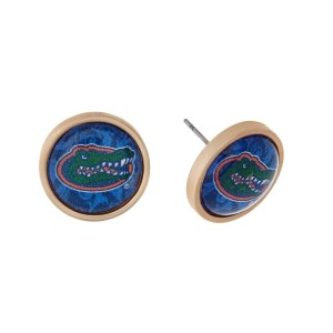 "Gold tone officially licensed University of Florida stud earrings. Approximately 2/3"" in length. Our exclusive design."