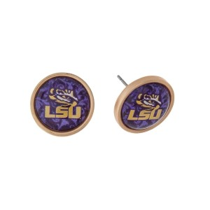 "Gold tone officially licensed LSU stud earrings. Approximately 2/3"" in length. Our exclusive design."