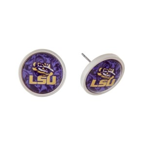 "Silver tone officially licensed LSU stud earrings. Approximately 2/3"" in length. Our exclusive design."