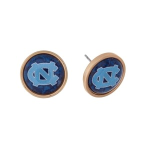 "Gold tone officially licensed University of North Carolina stud earrings. Approximately 2/3"" in length. Our exclusive design."