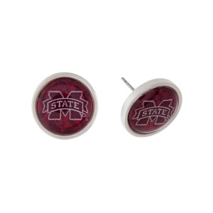 """Silver tone officially licensed Mississippi State University stud earrings. Approximately 2/3"""" in length. Our exclusive design."""