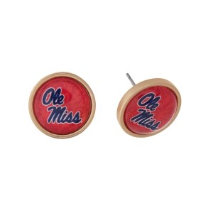"Gold tone officially licensed Ole Miss stud earrings. Approximately 2/3"" in length. Our exclusive design."