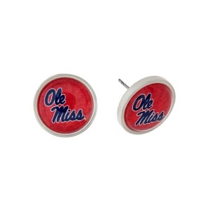 "Silver tone officially licensed Ole Miss stud earrings. Approximately 2/3"" in length. Our exclusive design."