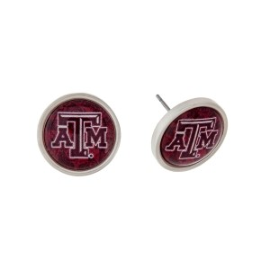 "Silver tone officially licensed Texas A&M University stud earrings. Approximately 2/3"" in length. Our exclusive design."