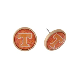 "Gold tone officially licensed University of Tennessee stud earrings. Approximately 2/3"" in length. Our exclusive design."