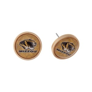 "Gold tone officially licensed University of Missouri stud earrings. Approximately 2/3"" in length. Our exclusive design."