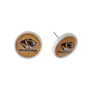"Silver tone officially licensed University of Missouri stud earrings. Approximately 2/3"" in length. Our exclusive design."
