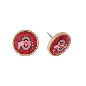 """Gold tone officially licensed Ohio State University stud earrings. Approximately 2/3"""" in length."""