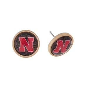 "Gold tone officially licensed University of Nebraska stud earrings. Approximately 2/3"" in length. Our exclusive design."